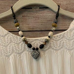 UNIQUE carved wood heart pendant